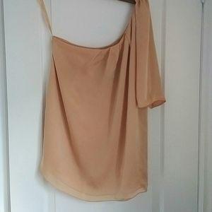 CLUB MONACO - silk one sleeve drape top
